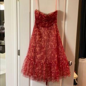 BCBG maxazaris midi length beaded red dress.